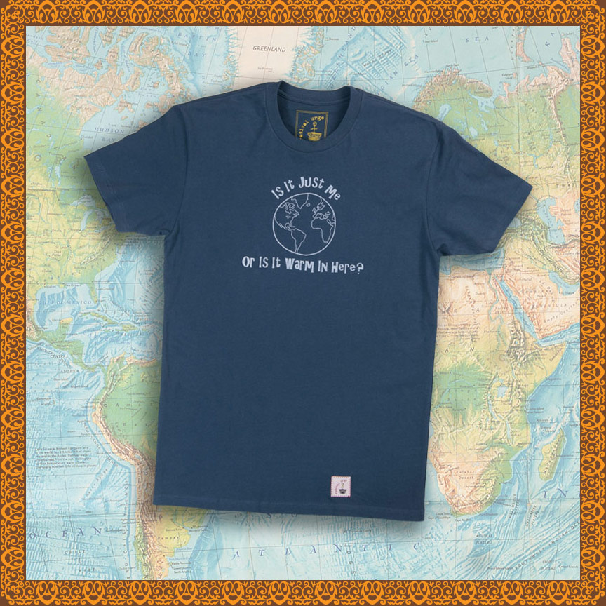 Is it Warm in Here t-shirt on a global map